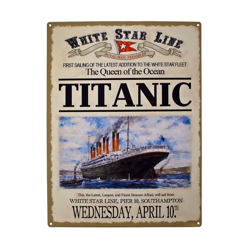 Unique Gift Shop London Titanic Advert Metal Sign Plaques
