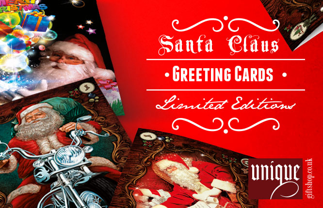 santa claus greetings cards poster
